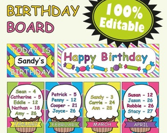 Birthday Board Classroom Decoration Candy Theme Template Printable