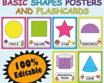 graphic regarding Printable Shape Flashcards known as Form flashcards Etsy