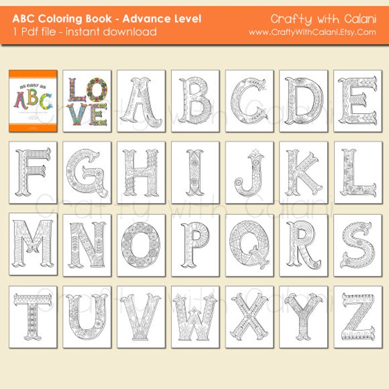 Alphabet Zentangle coloring book for Adult ABC Coloring ...