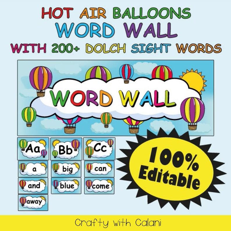 Word Wall Classroom Decoration, Hot Air Balloon Classroom, Classroom Word  Wall Template, Hot Air Balloon Word Wall, Classroom Printable