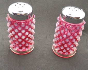 Pair Fenton Cranberry Opalescent Hobnail Salt and Pepper Shakers
