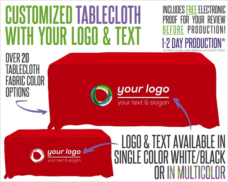 Your Logo Tablecloth  With Logo and Fabric Color Options