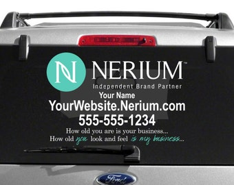 SALE- Nerium Custom Vehicle Decal With Custom Tag Line- Dual Color