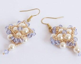 beaded earrings, swarovski earrings, dangle earrings, statement earrings, beadwork earrings, classic earrings, pearl earrings, gift  idea