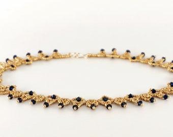 necklace, beaded necklace, beaded jewelry, handmade necklace, short necklace, seed bead necklace, seed bead jewelry, swarovski crystal, blue