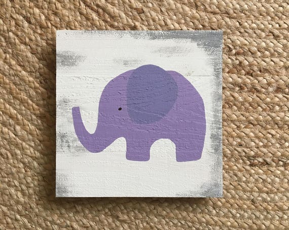Elephant in Purple Distressed Wooden Sign