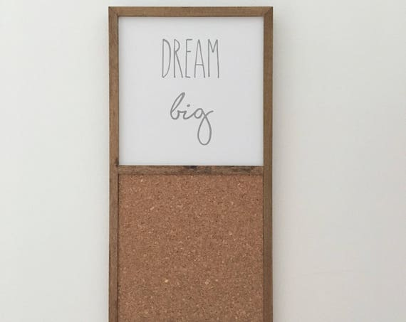 Dream Big Wood Sign & Cork Board ~ Handmade Wood Sign