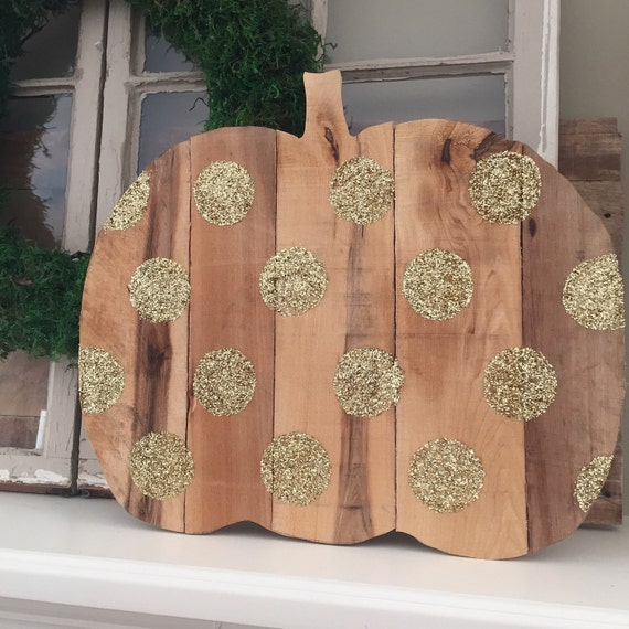 Wooden Pumpkin with Gold Glitter Dots