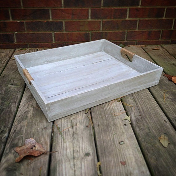 Large Wooden Whitewashed Tray |Wooden Serving Tray | Ottoman Tray with Twine Handles | Gray Painted Tray