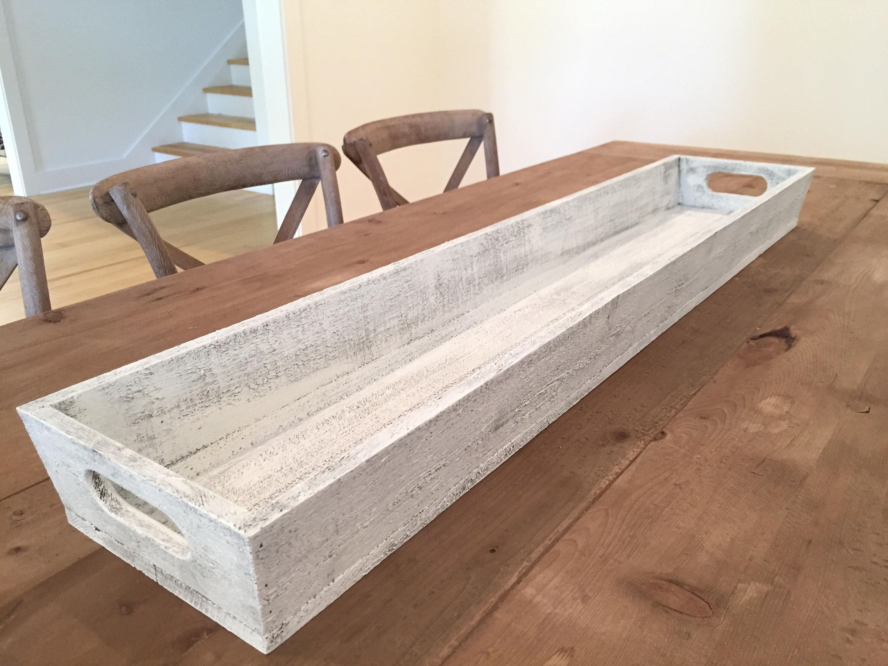 Tray   Large 46   Wooden Long Tray L Table Centerpiece L Trough, Wooden  Planter, Shabby Chic, Farmhouse Style Tray