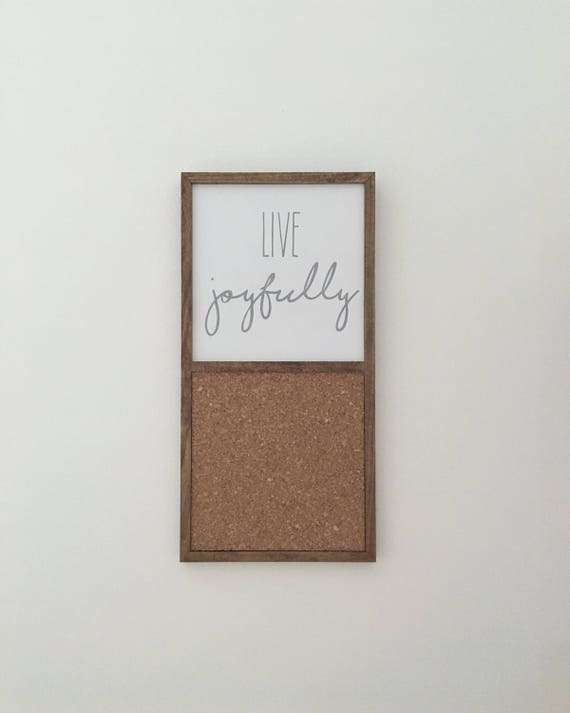 Live Joyfully Wood Sign & Cork Board ~ Handmade Wood Sign