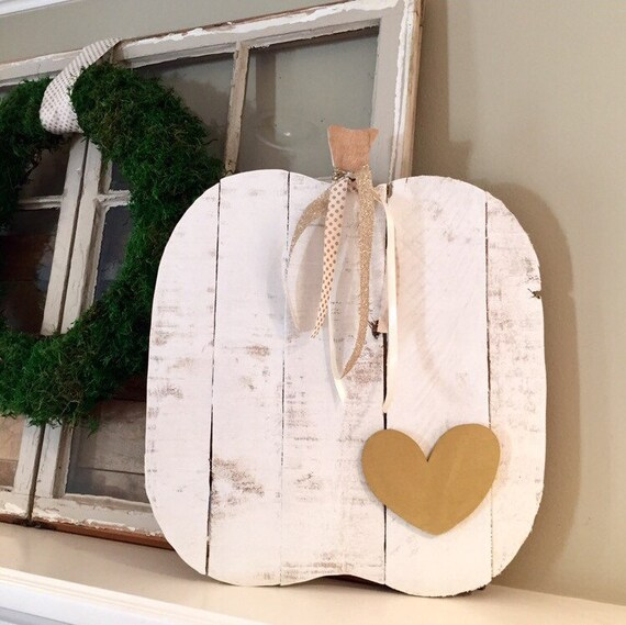 Wooden Pumpkin l Wood Pumpkin in White with Heart l Gold Heart l Fall Decor