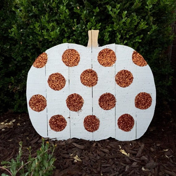 Wood Pumpkin l Wood Pumpkin in White with Orange Glitter Dots l Fall Decor