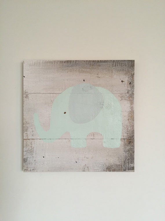 Elephant in Mint Green ~ Distressed Rustic Wood Sign