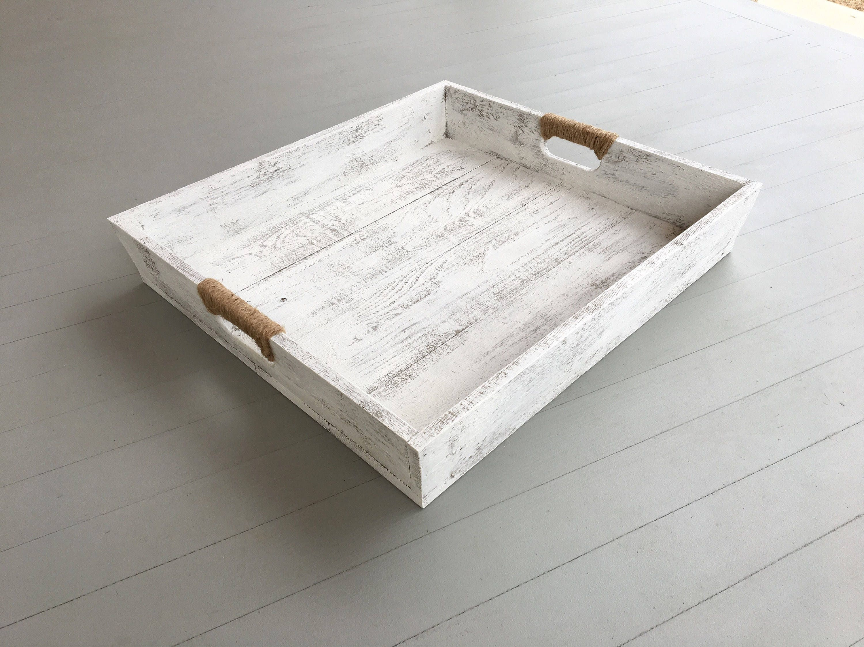serving tray for ottoman Large Wooden Distressed Tray in White |Wooden Serving Tray  serving tray for ottoman