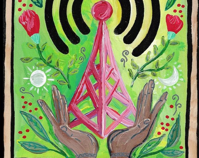 The Tower Tarot Card Painting by Willabird Designs Artist Amber Petersen