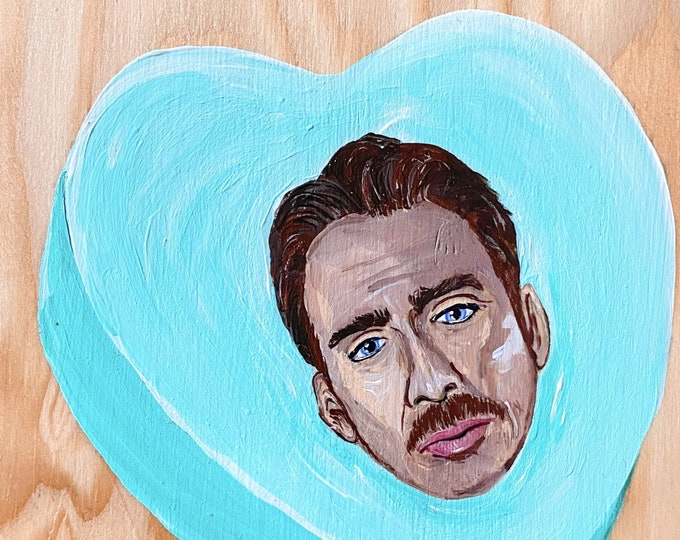 Nic Cage Candy Heart Painting by Willabird Designs Artist Amber Petersen