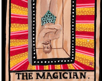 The Magician Tarot Card Painting by Willabird Designs Artist Amber Petersen. Vintage Circus aesthetic