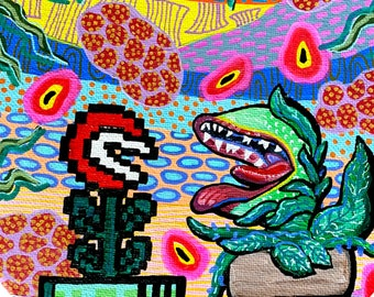 Plant Love Painting by Willabird Designs Artist Amber Petersen. Super Mario Brothers & Little Shop of Horrors Mashup
