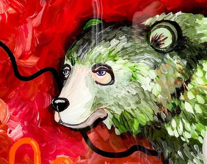 Bear Resin Painting by Willabird Designs Artist Amber Petersen