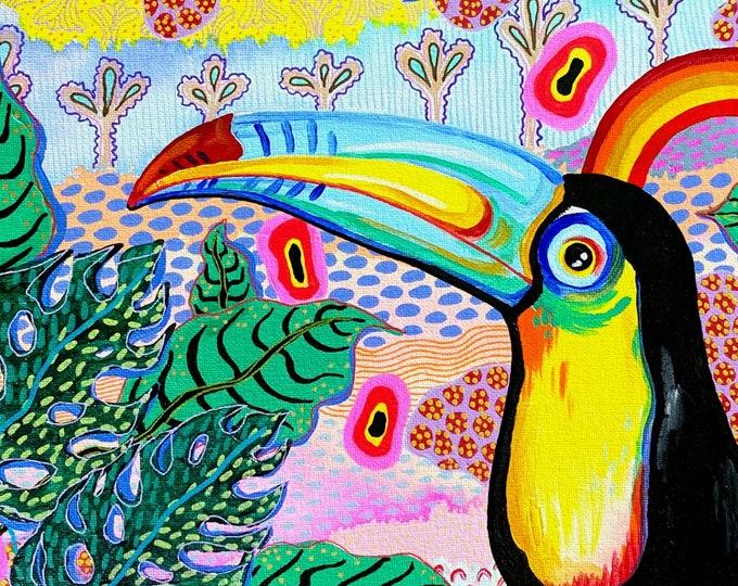 Jungalow Toucan Painting by Willabird Designs Artist Amber Petersen