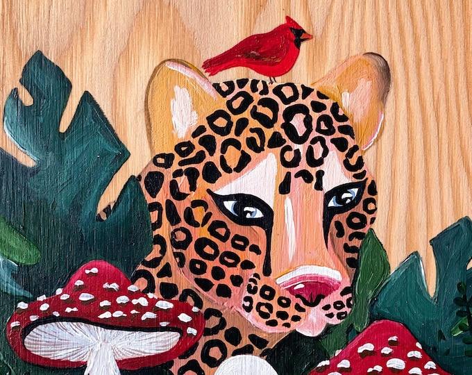 Leopard & Mushroom Painting by Willabird Designs Artist Amber Petersen