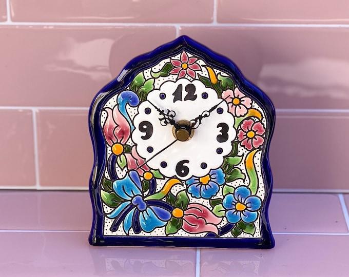 Floral Ceramic Clock found by Willabird Designs Vintage Finds