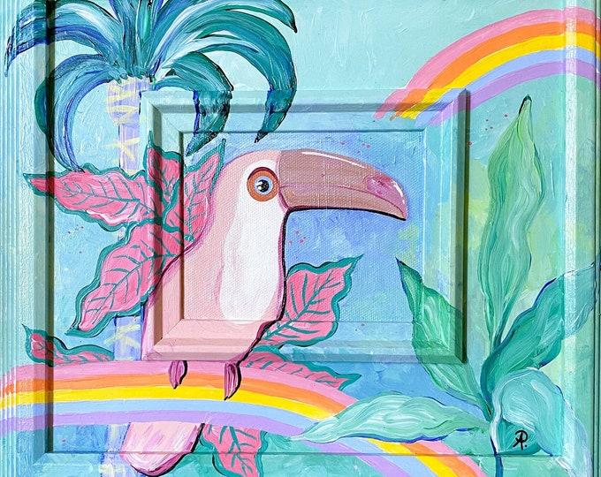 Malibu Vibes Toucan Painting by Willabird Designs Artist Amber Petersen