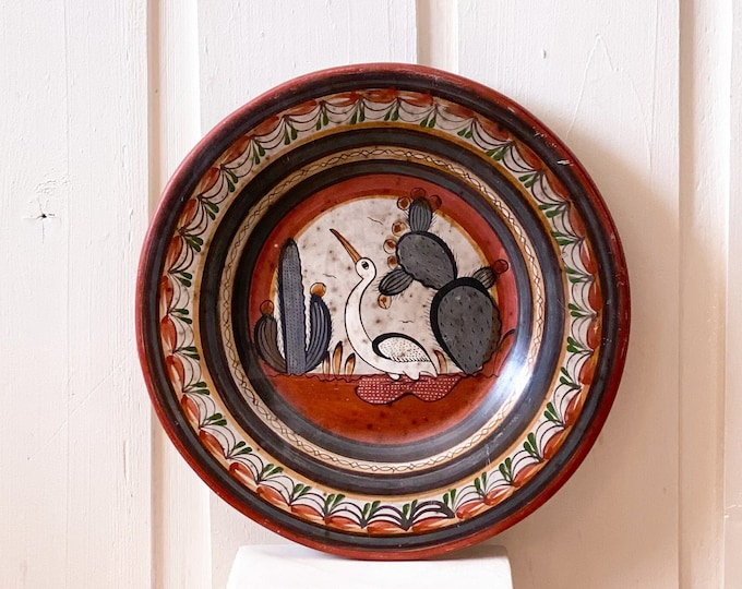 Huge Hand Painted Mexican Tonala Decorative Plate found by Willabird Designs Vintage Finds