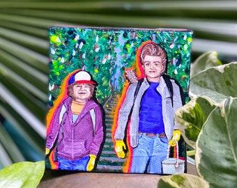 Stranger Things Paintings by Willabird Designs Artist Amber Petersen. Joe Keery, David Harbour, Winona Ryder, Gaten Matarazzo