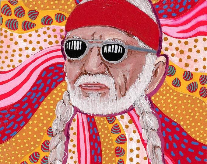 Willie Nelson Painting by Willabird Designs Artist Amber Petersen