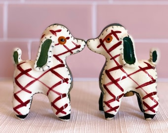 Vintage Napco Japan Plaid Dog Salt & Pepper Shakers found by Willabird Designs Vintage Finds