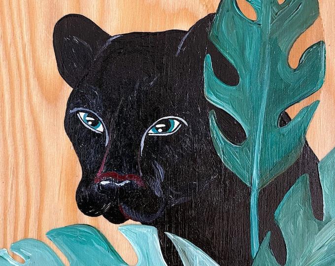 Black Panther & Palms Painting by Willabird Designs Artist Amber Petersen