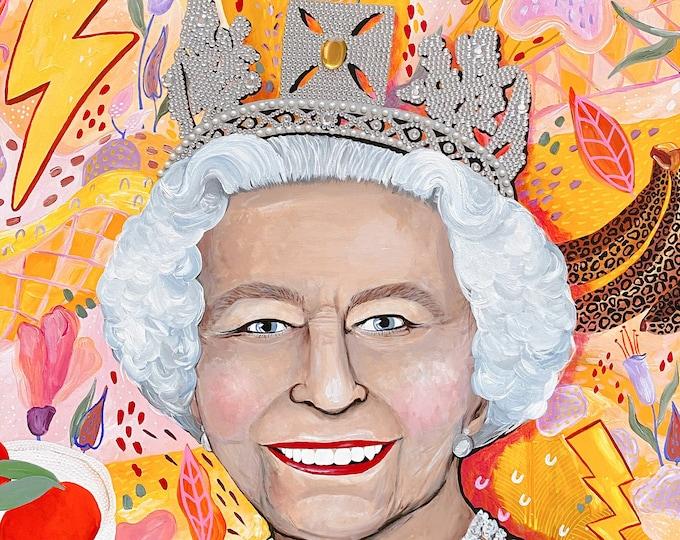 The Queen LARGE Painting by Willabird Designs Artist Amber Petersen. Queen Elizabeth II mixed media