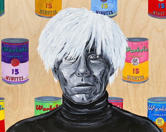 Andy Warhol Cans LARGE Painting by Willabird Designs Artist Amber Petersen. Campbells soup cans Warhol tribute