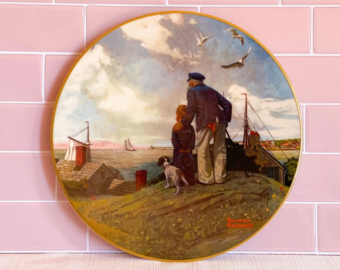 """1980 Norman Rockwell Collectors Plate 'Looking Out to Sea"""" found by Willabird Designs Vintage Finds"""