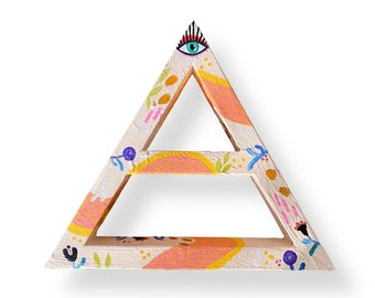 Gratitude Shelf Hygge Décor by Artist Amber Petersen. Colorful Willabird triangle shelf