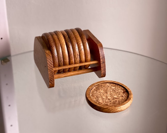 Vintage Wood & Cork Coasters with Caddy found by Willabird Designs Vintage Finds