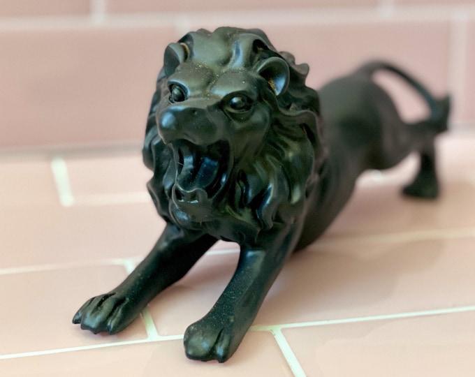 Black Ceramic Lion found by Willabird Designs Vintage Finds