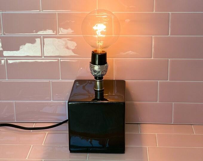 Black Cube Retro Lamp found by Willabird Designs Vintage Finds