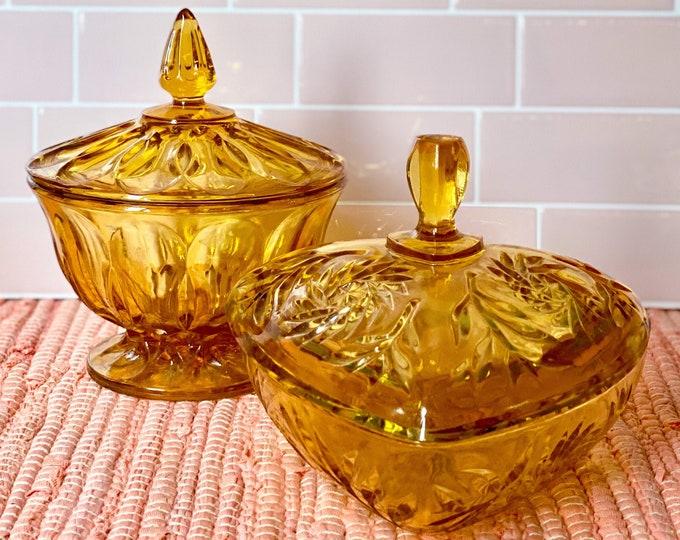 Vintage Amber Depression Glass Candy Jars found by Willabird Designs Vintage Finds