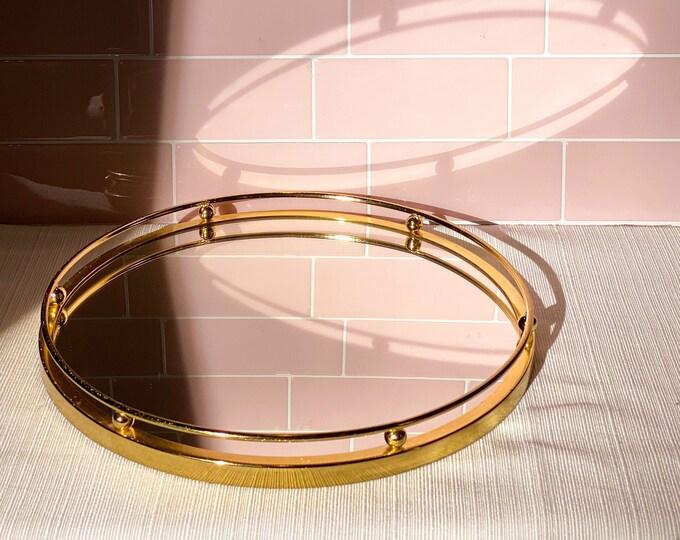 Brass & Mirrored Round Tray found by Willabird Designs Vintage Finds