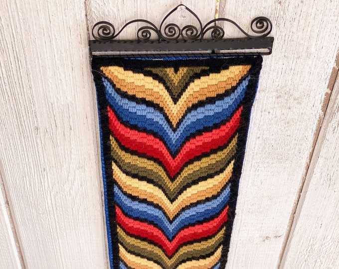 Long Narrow Needlepoint Wall Hanging found by Willabird Designs Vintage Finds