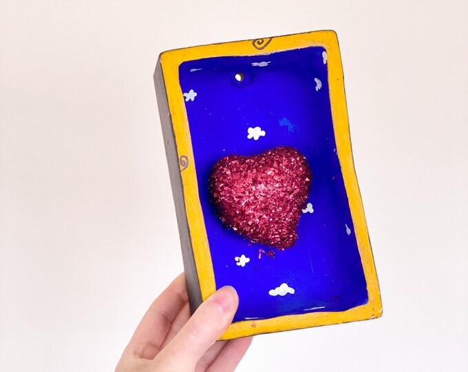 Mexican Bleeding Heart Shadow Box found by Willabird Designs Vintage Finds