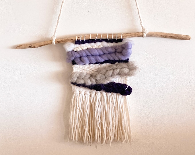Blue & White Macramé Wall Hanging found by Willabird Designs Vintage Finds