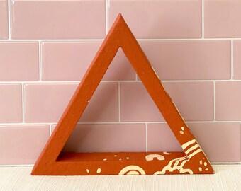 Gratitude Shelf Hygge Décor by Willabird Designs Artist Amber Petersen. Terracotta clay and wood triangle shelfie