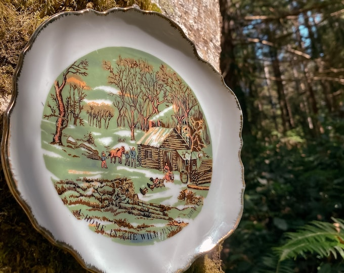 A Home in the Wilderness Currier & Ives Vintage Gold Trimmed Plate found by Willabird Designs Vintage Finds