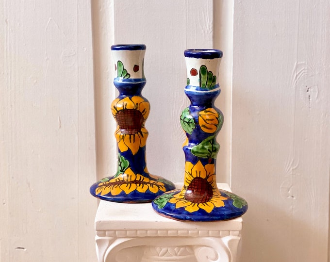 Mexican Sunflower Candlestick Holders found by Willabird Designs Vintage Finds