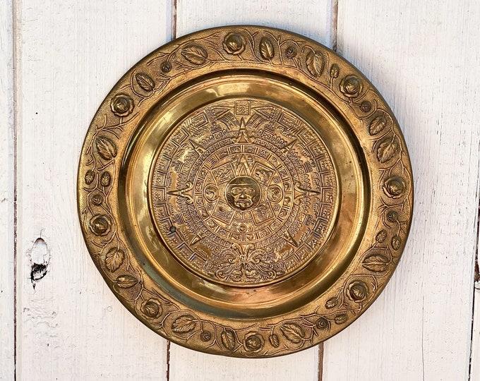Vintage Brass Aztec Calendar Decorative Plate found by Willabird Finds Vintage Finds