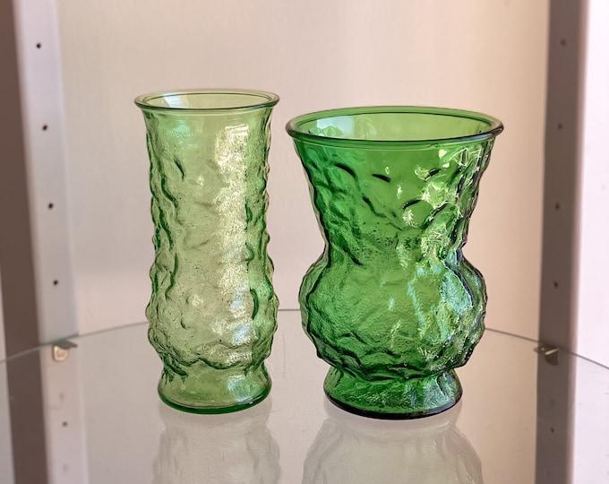 Vintage Emerald Green Hoosier Crinkle Glass Vases found by Willabird Designs Vintage Finds